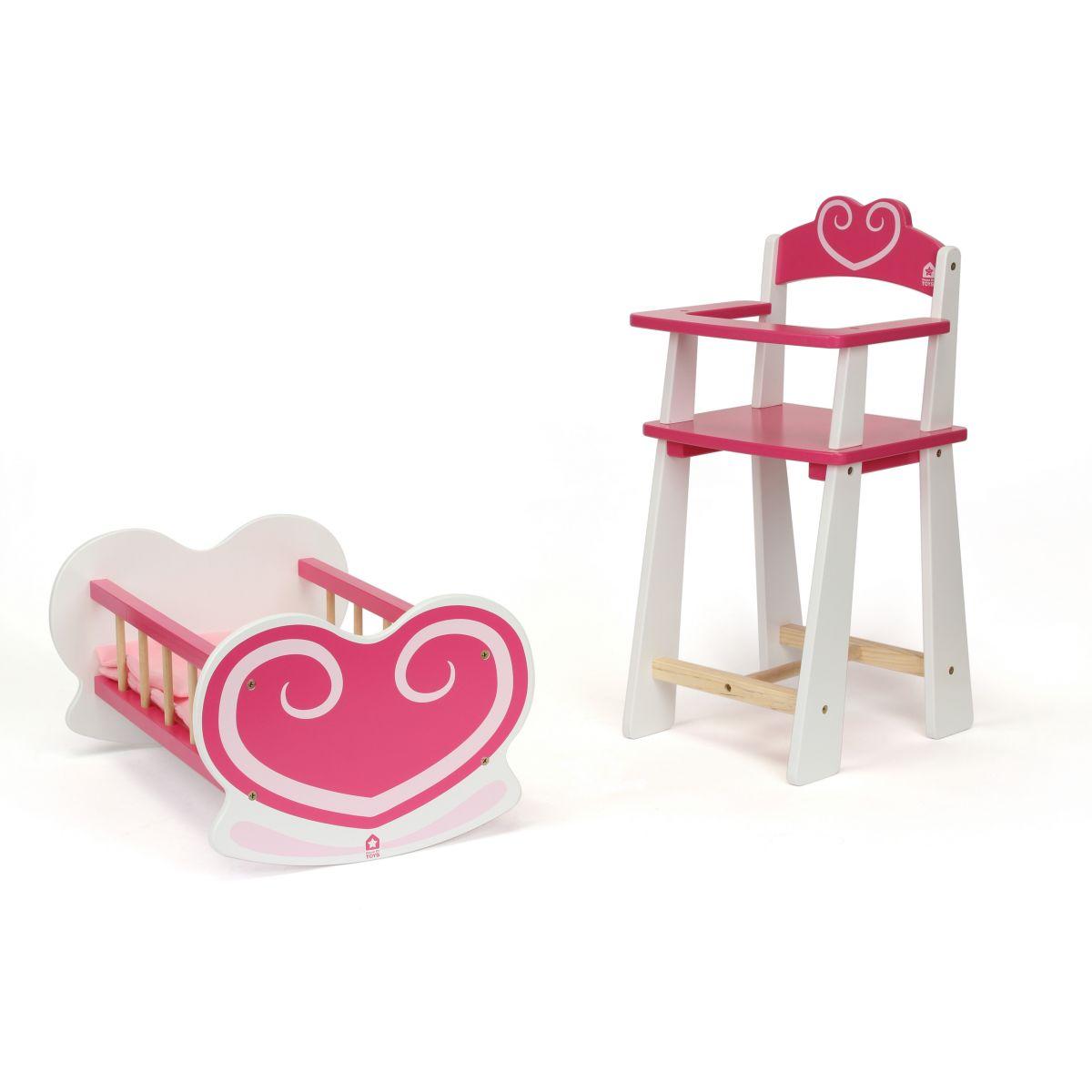 mobilier coeur pour poup e chaise haute et berceau partir de 3 ans sebio. Black Bedroom Furniture Sets. Home Design Ideas