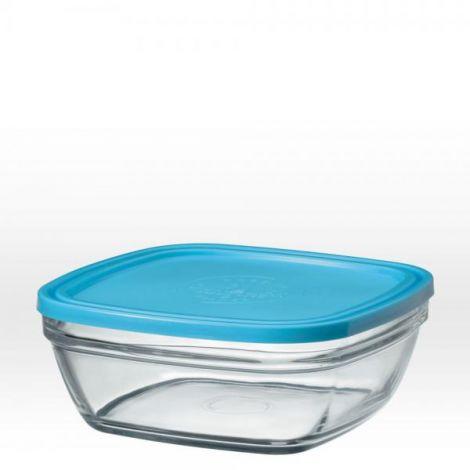 saladier carr en verre avec couvercle bleu 20 cm 200