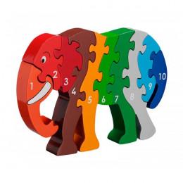 Puzzle en bois Eléphant de 1 à 10 - à partir de 2 ans