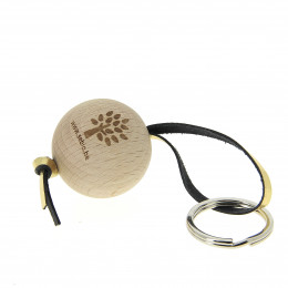 Porte-clés en bois FSC et cuir Sebio Or