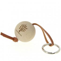 Porte-clés en bois FSC et cuir Sebio Tan