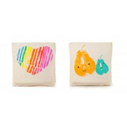 Snack pack: pochette alimentaire en coton BIO - motif Mama Love - lot de 2