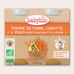 Pommes de terre, carotte et veau fermier d'Aquitaine (dès 8 mois) 2 x 200 g
