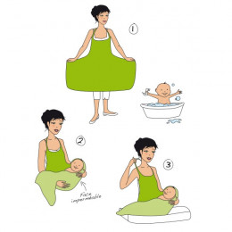 Tablier de bain maman/bébé Chéru'bain Eco Chou Bambou écru