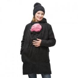 Manteau de grossesse et de portage en laine - Anthracite *