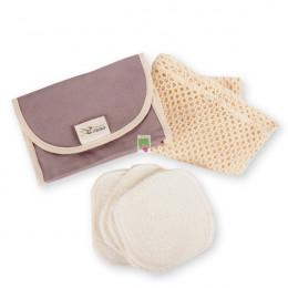 Kit Eco belle nomade 4 carrés démaquillants lavables en coton BIO biface