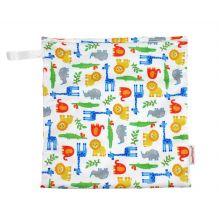 Sac à couches humides en coton BIO 28 x 26 cm avec tirette zoo