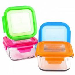 Set de boîtes à repas carrées en verre trempé avec couvercle -  4 x 480 ml