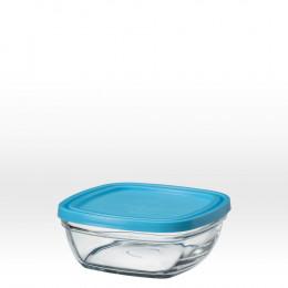 Saladier carré en verre avec couvercle bleu - 14 cm - 61 cl