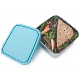 Boite carrée en inox avec séparateur - 1,5 l - couvercle turquoise