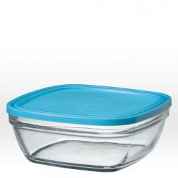 Saladier carré en verre avec couvercle bleu - 23 cm - 310 cl