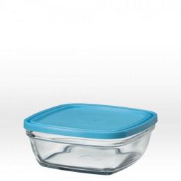 Saladier carré en verre avec couvercle bleu - 17 cm - 115 cl