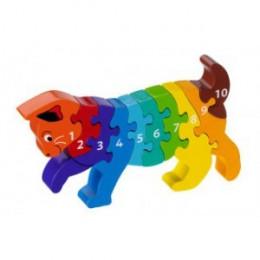 Puzzle en bois 3D chaton - chiffres - à partir de 2 ans