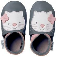 Chaussons G4114 - Gris avec chat rose - 4 XL *