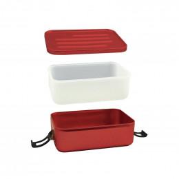 Boîte à repas en alu rouge avec insert en silicone