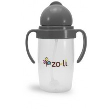 Gobelet avec paille lestée  Sans BPA ni phtalate Gris - 295 ml *