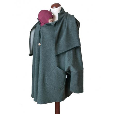 dc56a6c5ca9 Poncho de maternité en laine Anthracite   - Sebio