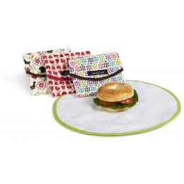 Pochette ronde pour goûters et sandwiches - Fleurs