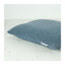 Housse tricotée en laine recyclée pour coussin 43 x 43 cm Denim *