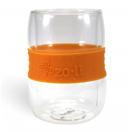 Verre doubles parois et bande antidérapante - 300 ml Orange Lot de 2