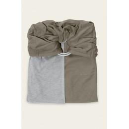 Petite écharpe sans noeud - gris chiné et olive SANS PAD