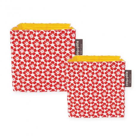 lot de 2 paniers de rangement en tissu coton bio rouge sebio. Black Bedroom Furniture Sets. Home Design Ideas