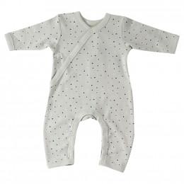 Pyjama vert clair à pois taupe et bleus en coton BIO