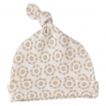 Bonnet blanc en coton BIO - Fleurs taupe