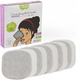 10 carrés démaquillants lavables Eucalyptus biface Gris