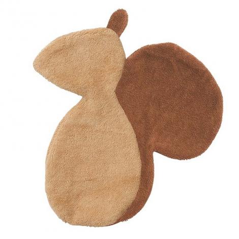 Doudou plat écureuil en coton bio