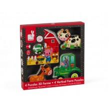 4 puzzles 3D Ferme à partir de 2 ans