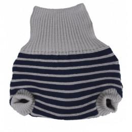 Culotte en laine lignes bleues et grises