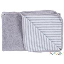 Couverture en coton BIO réversible - gris et rayé bleu
