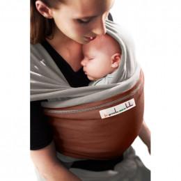 Echarpe porte-bébé: Gris clair / Rouge sequoia