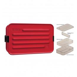 Grande boîte à repas en alu rouge avec insert en silicone