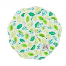 Disques démaquillants lavables en coton organique  - Fleurs vertes - lot de 10