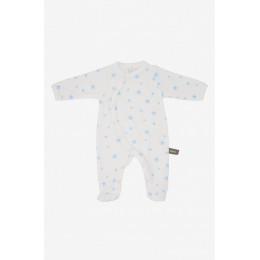 Pyjama velours en coton BIO - Etoiles bleues ciel