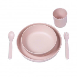 Ensemble repas en bambou - Rose pâle