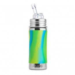 Biberon évolutif inox 325 ml Paille - Aqua swirl