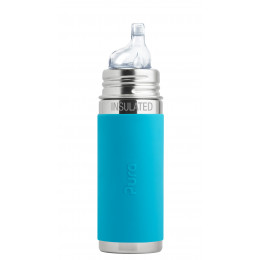 Biberon isotherme évolutif inox 260 ml - bec de transition - Turquoise