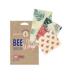 Film alimentaire réutilisable en cire d'abeilles - Set de 3 tailles - Tropical Flamants roses