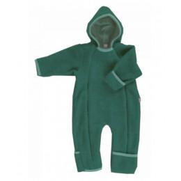 Combinaison intégrale en polaire de laine pour bébé - Emeraude