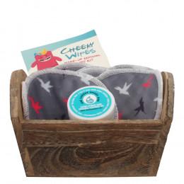 Kit de lingettes démaquillantes lavables - Oiseaux gris