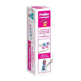Recharge de 5 pots de peinture + pinceau pour moulages Mako - 800 g