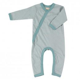Pyjama coton bio - Rayures fines - turquoise