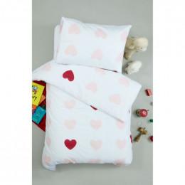 Housse de couette enfant 100 x 140 cm + 1 taie 40 x 60 cm Coton Bio Coeurs roses