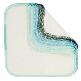 Lingettes lavables en flannelle - Bleu - Lot de 12