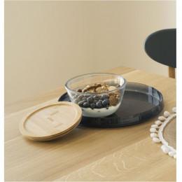 Bol à mixer rond en verre avec couvercle en bambou - 2,6 L