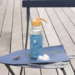 Bouteille en verre et silicone nomade - 550 ml - bleu