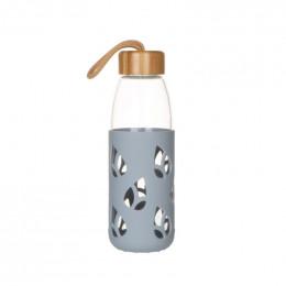 Bouteille en verre et silicone nomade - 550 ml - gris